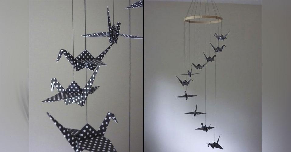 9. Móbile feito com pássaros de origami