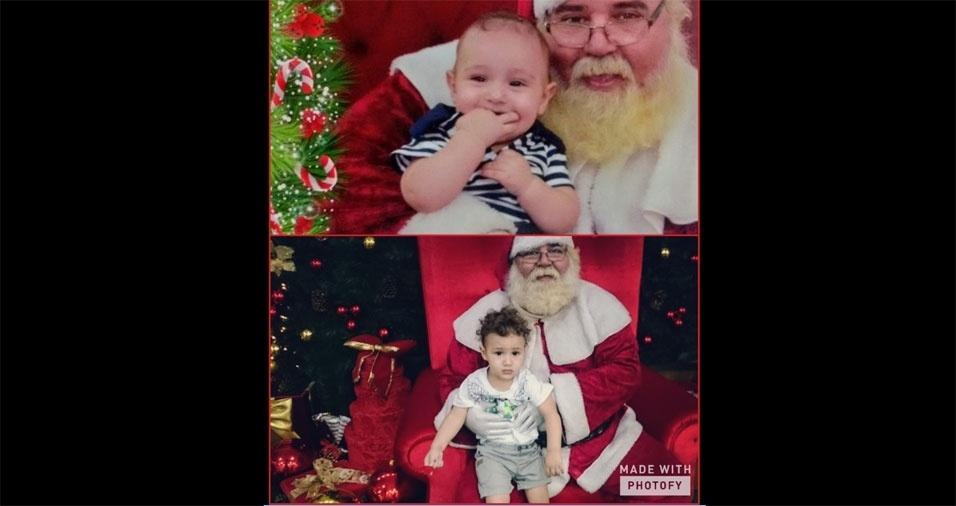 Monique enviou foto do filho Miguel, com cinco meses, e depois com um ano e 5 meses, ao lado do bom velhinho, em São Paulo (SP)