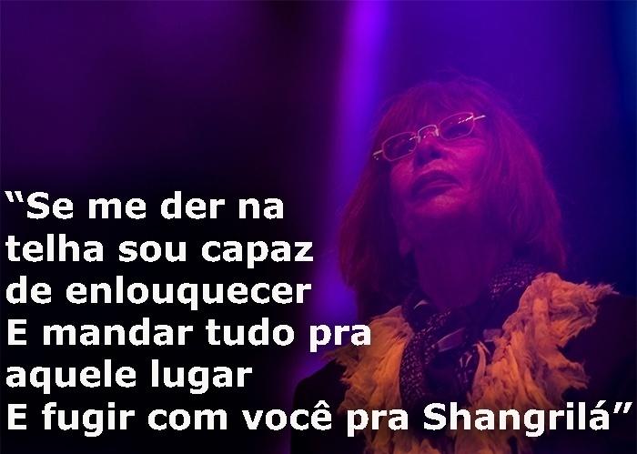 """Trecho da música """"Shangrilá"""", de 1980; foto de show de Rita Lee em comemoração ao aniversário de São Paulo, em 2013"""