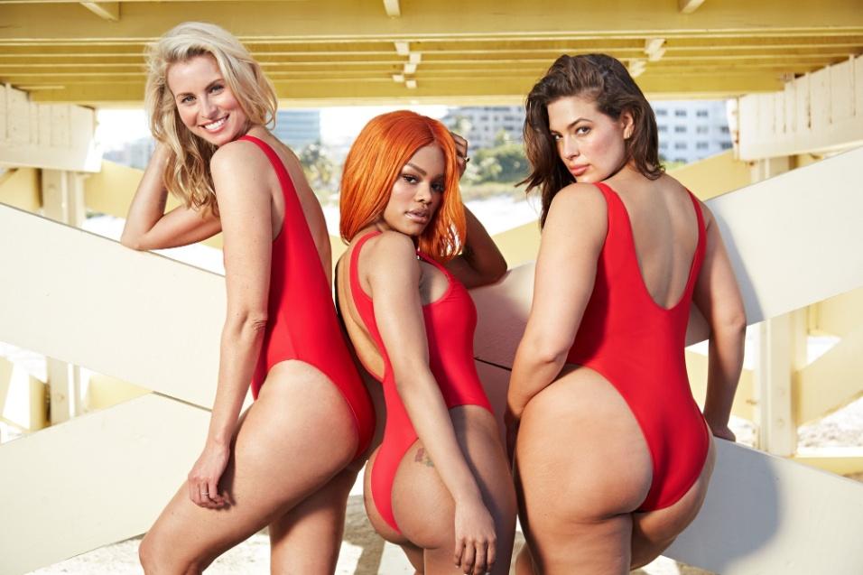 19.mai.2017 - Nick Taylor (esq.), Teyana Taylor (centro) e Ashley Graham foram as estrelas do ensaio inspirado no seriado, que volta às telas neste ano como um filme