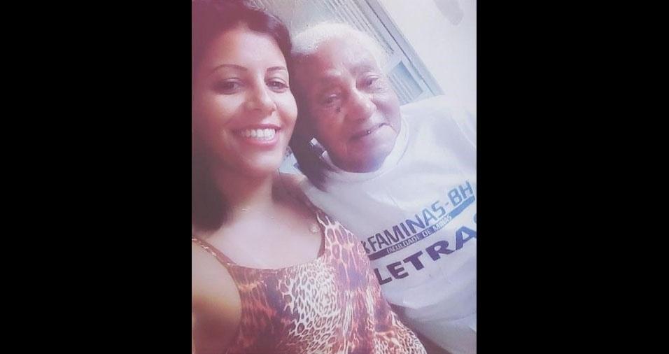 """Kelly dos Santos, de Pará de Minas (MG), com a vovó Diolinda de Jesus Santos: """"106 anos de pura lindeza"""""""