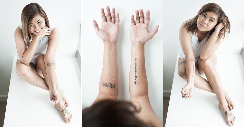 20.out.2015 - Helga, de 29 anos, também mostra as estrias nos braços que marcam o crescimento do corpo