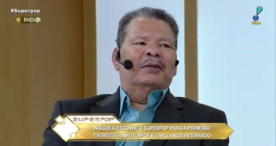 24.out.2016 - O ex-boxeador Maguila, de 58 anos, concedeu sua primeira entrevista a um programa de TV após deixar o hospital. Ele, que ficou dois anos e meio internado para tratamento da demência pugilística até receber alta na semana passada, falou sobre sua recuperação no programa