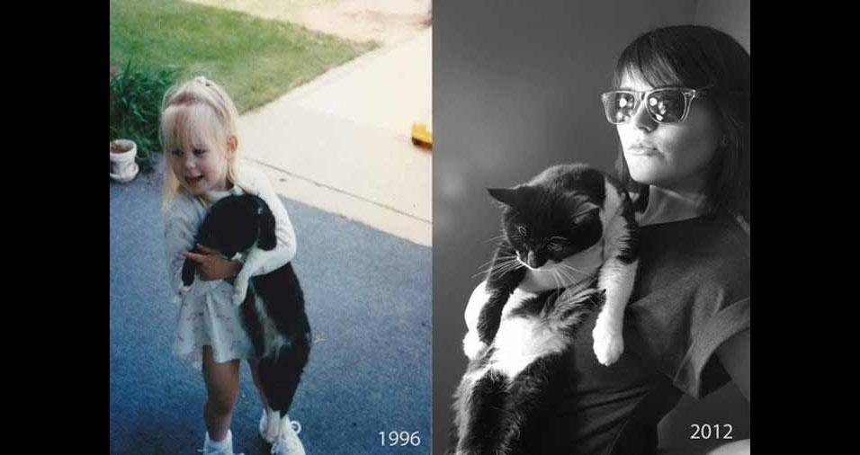 5. A menina e sua gatinha cresceram. 16 anos depois