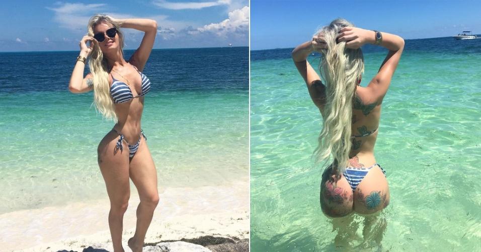 21.set.2016 - Curtindo o sol e o mar azul do Caribe, Thalita Zampirolli exibiu a cinturinha fininha em novas fotos no seu Instagram. Em entrevista ao Ego, a modelo garantiu que viajou sozinha para Cancún, balneário no México