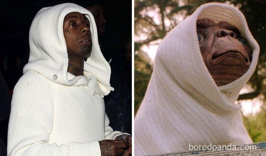Fev.2017 - O rapper norte-americano Lil Wayne e o personagem ET (dir.)