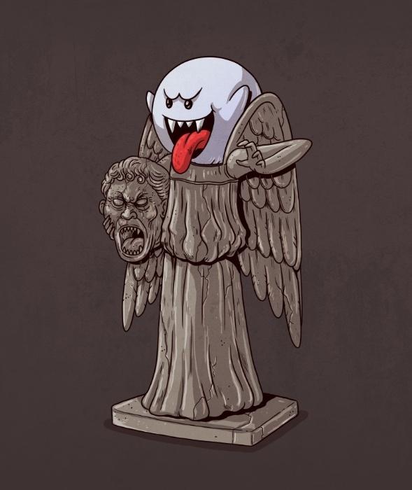 """21.out.2015 - O mundo dos pesadelos também entrou na série """"Icons Unmasked"""". A assustadora estátua Weeping Angel da série britânica """"Doctor Who"""" não passa de um alter-ego do fantasminha de """"Super Mario Bros"""""""