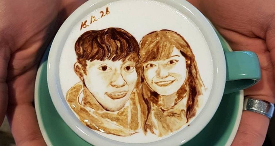43. Já pensou ter um retrato seu com o mozão estampado no café de vocês?