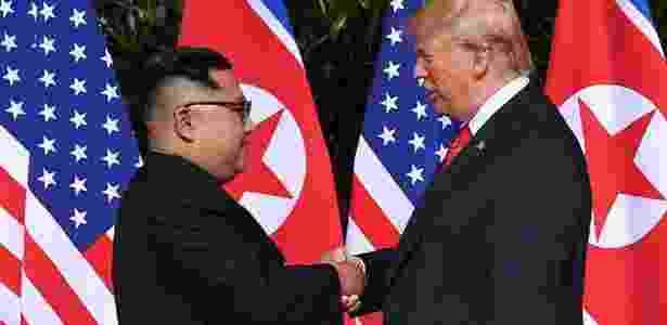 Kim e Trump - Reprodução/Saulo Loeb/AFP - Reprodução/Saulo Loeb/AFP