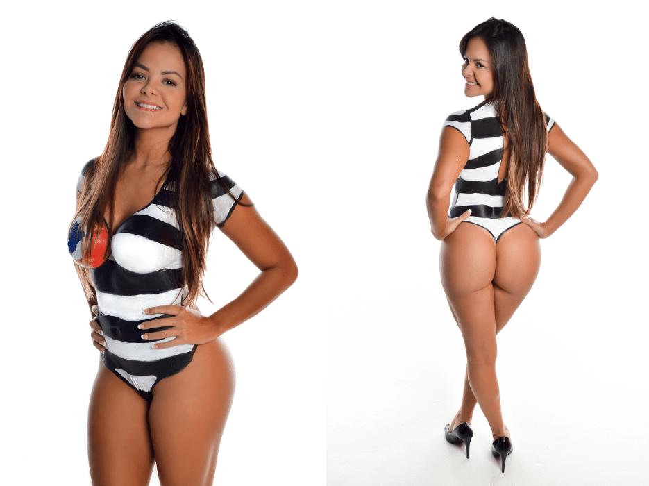 20.jun.2017 - Gabriella Araújo posou com bandeira de São Paulo em pintura corporal. Outra novidade do Miss Bumbum 2017 é a participação de duas candidatas internacionais, vindas dos EUA e Portugal