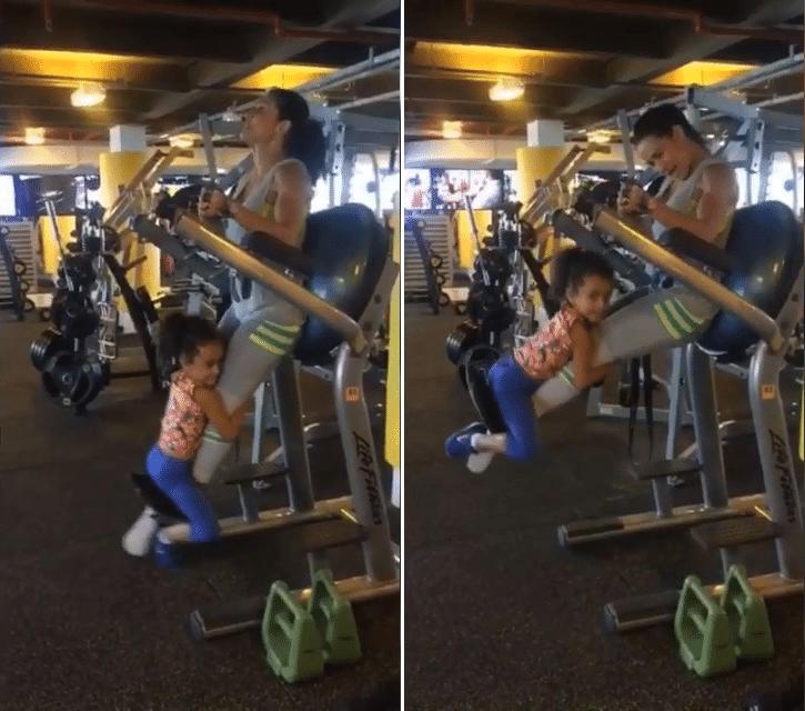 14.jan.2016 - A filha de Scheila não se intimidou por um instante com o exercício da mamãe
