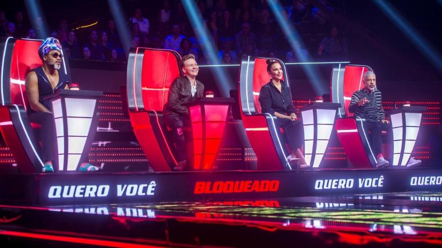 The Voice Brasil 2018: os jurados permanecem os mesmos na sétima edição do programa, com Carlinhos Brown, Michel Teló, Ivete Sangalo e Lulu Santos  - Globo/Raquel Cunha