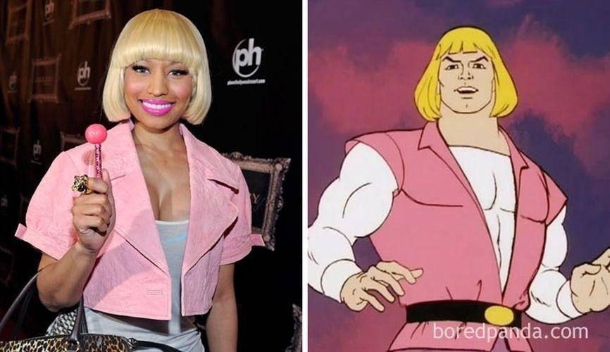 Fev.2017 - A cantora Nicki Minaj (esq.) e o personagem de desenhos animados He-Man