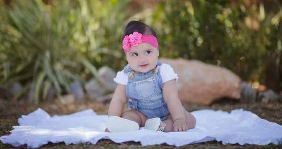 Eduardo e Geisiane enviaram foto da filha Rafaela, de Itaúna (MG)