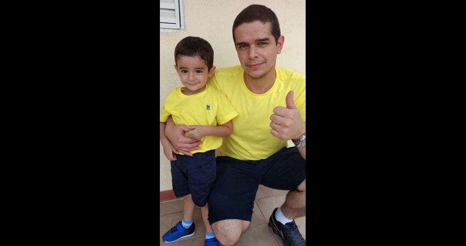 Papai Danilo Fernando com o filho Miguel, de São Roque (SP)