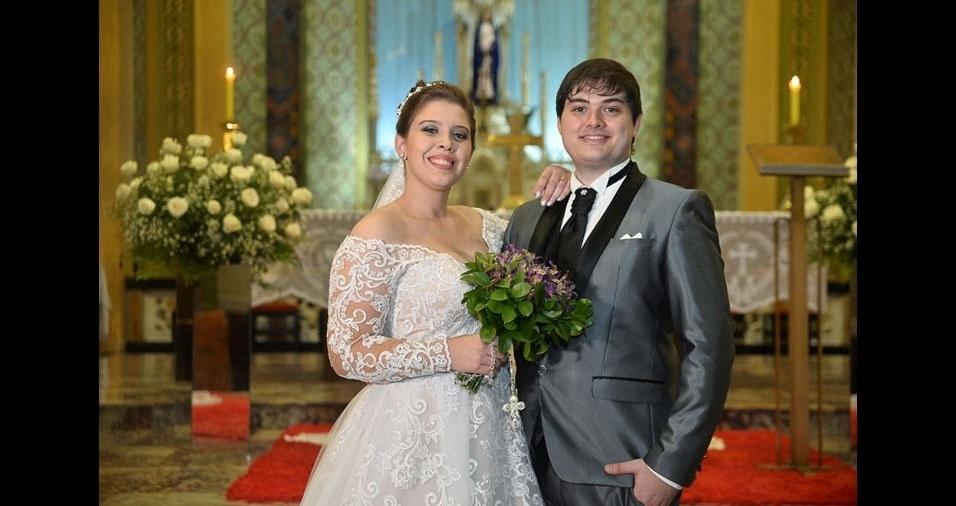 Thatiane Dalalio e Thiago Piagentini Lombardi se casaram em 14 de abril de 2018, no  Santuário de Nossa Senhora das Dores, em Avaré (SP)