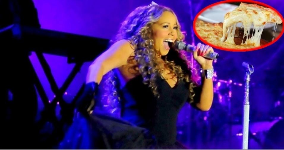 13. Mariah Carey - Pizza, embora por conta da dieta, ela precise maneirar na hora de comer seu prato favorito