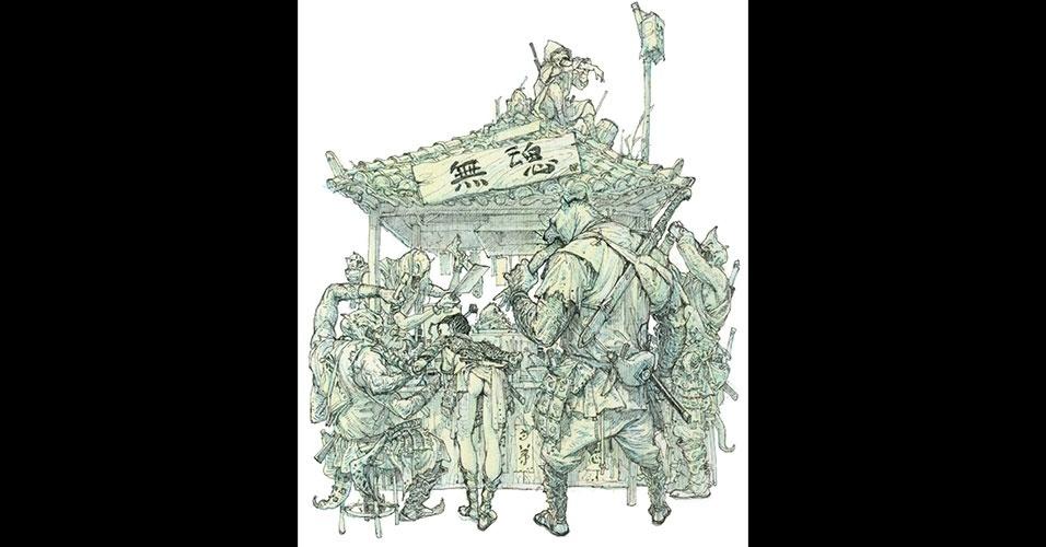 31.mai.2016 - O desenhista sul-coreano Kim Jung Gi cria ilustrações com estética das histórias em quadrinhos, abusando do humor negro, cinismo, violência e nudez