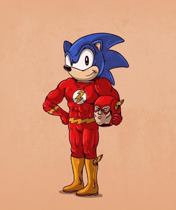 21.out.2015 - Flash e Sonic fazem uma paradinha para os traços de Alex Solis
