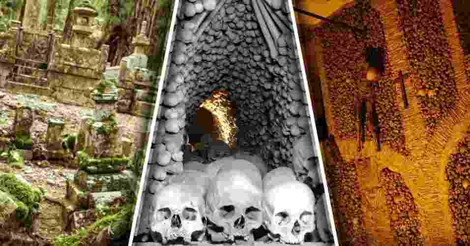 """15.jan.2017 - Como você já sabe, um cemitério não é um lugar muito agradável para fazer uma visita. Mas, há alguns bem piores do que os que conhecemos. Antigos e com arquiteturas inusitadas, alguns cemitérios pelo mundo ganham fama pelo medo que colocam em seus visitantes, seja por sua aparência ou por suas histórias macabras. O site Mega Curioso reuniu alguns exemplos de """"necrópoles"""" que aterrorizam qualquer pessoa. Você tem coragem? Navegue pelas fotos a seguir e conheça exemplos - Montagem BOL"""