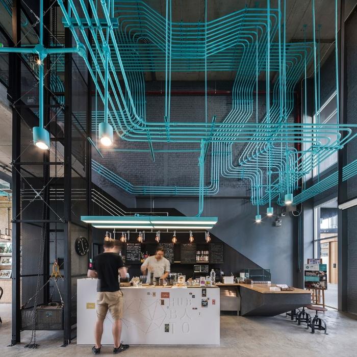 6.mar.2017 - O espaço de trabalho Hubba-to, projeto do estúdio Supermachine construído em Bangcoc, na Tailândia, foi o vencedor da categoria Interiores