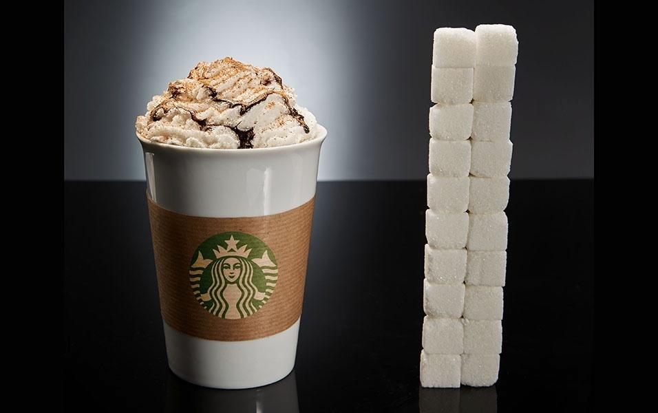 Um café do Starbucks (do tipo Mocca branco, com cobertura de chocolate) tem 80 g de açúcar