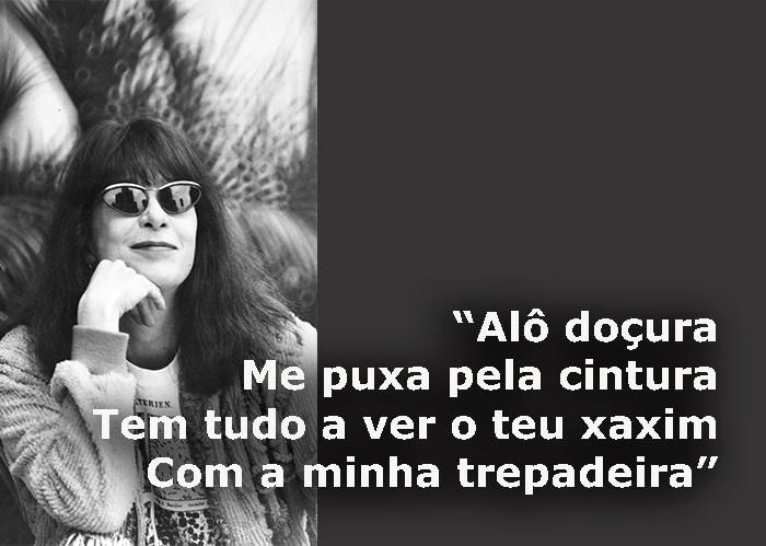 """Trecho da música """"Pega rapaz"""", de 1987; foto de Rita Lee em São Paulo (SP) no mesmo ano"""