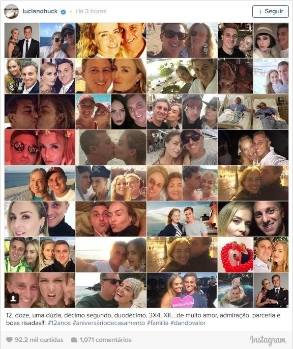 """30.out.2016 - Luciano Huck compartilhou no Instagram uma imagem reunindo várias fotos do casal para comemorar 12 anos de casamento com Angélica: """"12, doze, uma dúzia, décimo segundo, duodécimo, 3X4, XII?.de muito amor, admiração, parceria e boas risadas!!! #12anos #aniversáriodecasamento #familia #dandovalor"""", escreveu ele na legenda da imagem"""