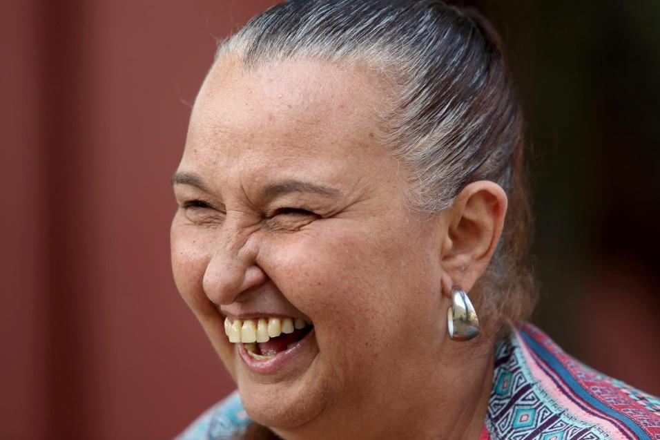 Professora Cibele. No sorriso de Cibele, dá para ver que a vida dela está diretamente atrelada ao trabalho com as crianças da EMEI Nelson Mandela