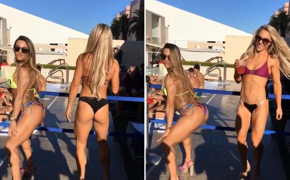 25.set.2016 - Vídeo publicado no Instagram da ex-BBB Michelly Cristefe mostra a loira ensinando uma amiga a rebolar à beira da piscina. A modelo participou de uma festa à beira da piscina em Las Vegas, nos Estados Unidos