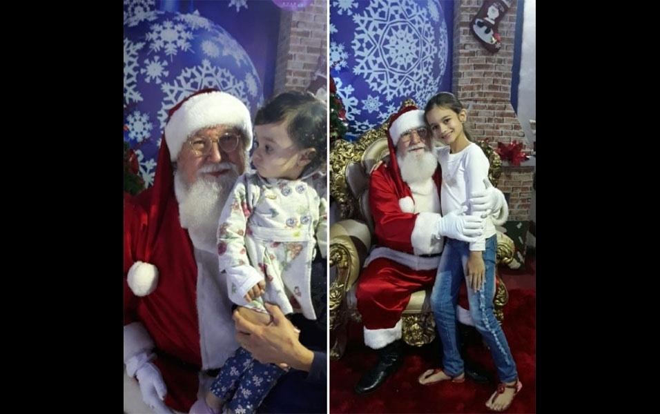 Gleison Fonseca, de Anápolis (GO), compartilha foto de Eloyse e Elyse com o Papai Noel