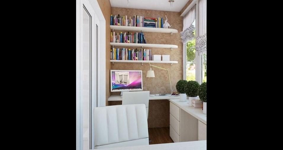 1. Se sua varanda for um pouco maior, você pode colocar uma estante com livros, uma mesa grande e uma cadeira de chefe