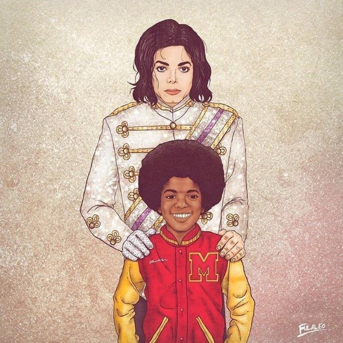 Michael Jackson, morto em 2009 aos 50 anos, aparece segurando sua versão mirim, da época do grupo The Jackson 5