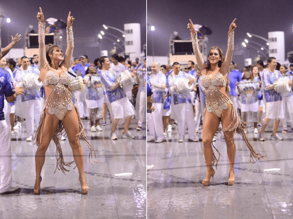 14.jan.2016 - Lívia Andrade desfila com a escola Império de Casa Verde no Sambódromo de São Paulo nesta quinta-feira (14)