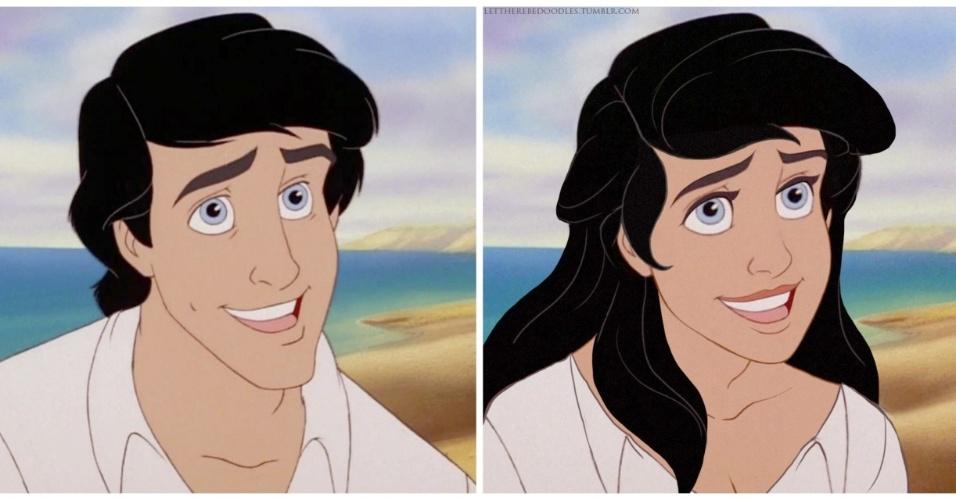 """6.jan.2016 - Até o príncipe Eric, de """"A Pequena Sereia"""" (1989) foi lembrado em série de ilustrações que mudam personagens da Disney"""