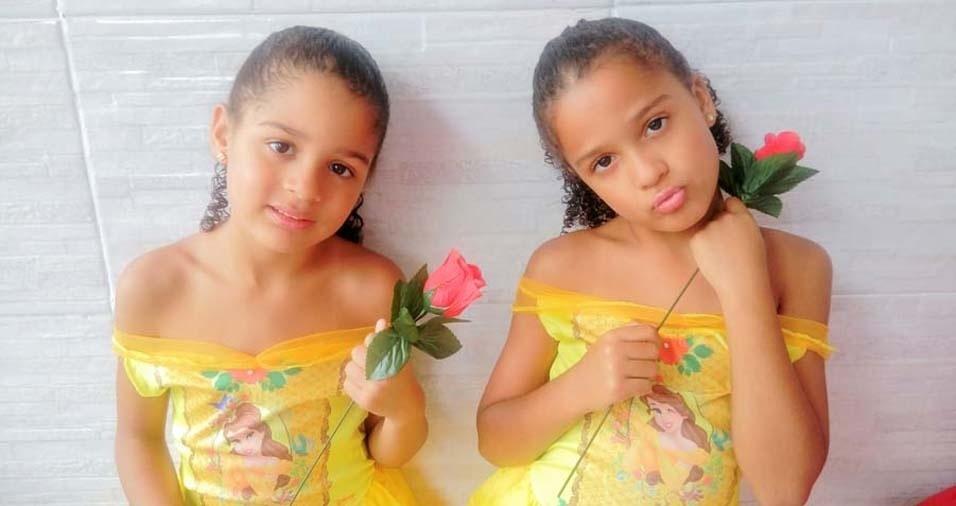 Lucimar, de Duque de Caxias (RJ), enviou foto das gêmeas Laura Beatriz e Luisa Caroline, de seis anos