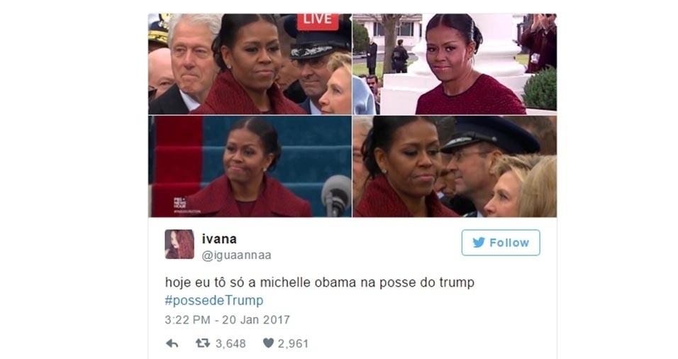 """23.jan.2017 - No dia 20 de janeiro ocorreu a posse de Donald Trump como presidente dos Estados Unidos, com direito à presença do ex-presidente Barack Obama, como é de praxe nesse tipo de cerimônia. E a ex-primeira dama Michelle Obama chamou atenção pelas expressões de aparente desconforto em vários momentos do evento. Na internet, Michelle virou piada com sua cara de """"não quero estar aqui"""""""