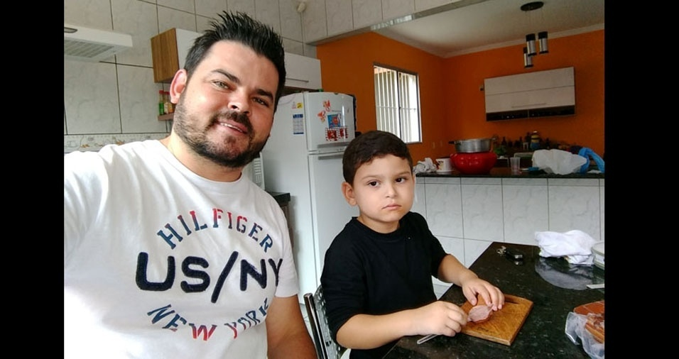 Papai Leandro e o filho Gustavo, de Itupeva (SP)
