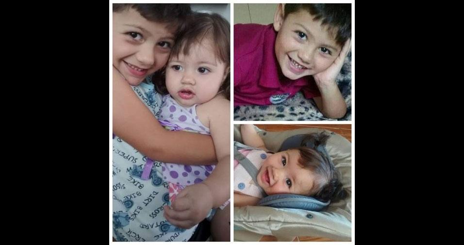 A mãe Daniela Ribeiro enviou foto dos filhos Breno, de sete anos, e Ana Luisa, de um ano e quatro meses