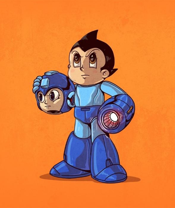 """21.out.2015 - Dois famosos garotos ciborgues japoneses se misturam na série """"Icons Unmasked"""", o Mega Man dos games e Atom, obra do pai dos mangás, Osamu Tezuka"""