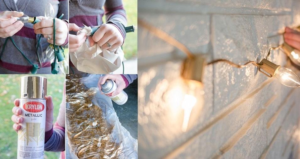 3. Fuja do verde: pinte o cordão de luz com tinta spray dourada ou prateada