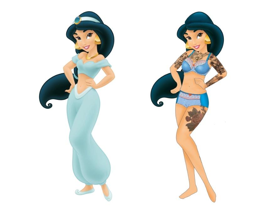 15.dez.2015 - Além da cintura mais reta, Jasmine ganhou tatuagens, algo impensável em uma princesa da Disney