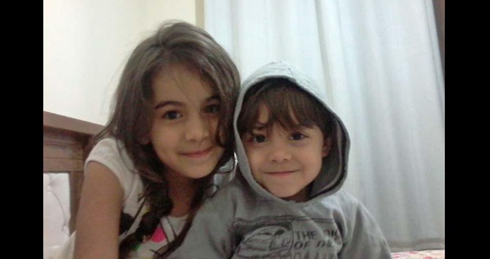 Nilzimar e Thiago enviaram a foto dos filhos Lara,  de seis anos, e Henrique, de dois anos, de Contagem (MG)