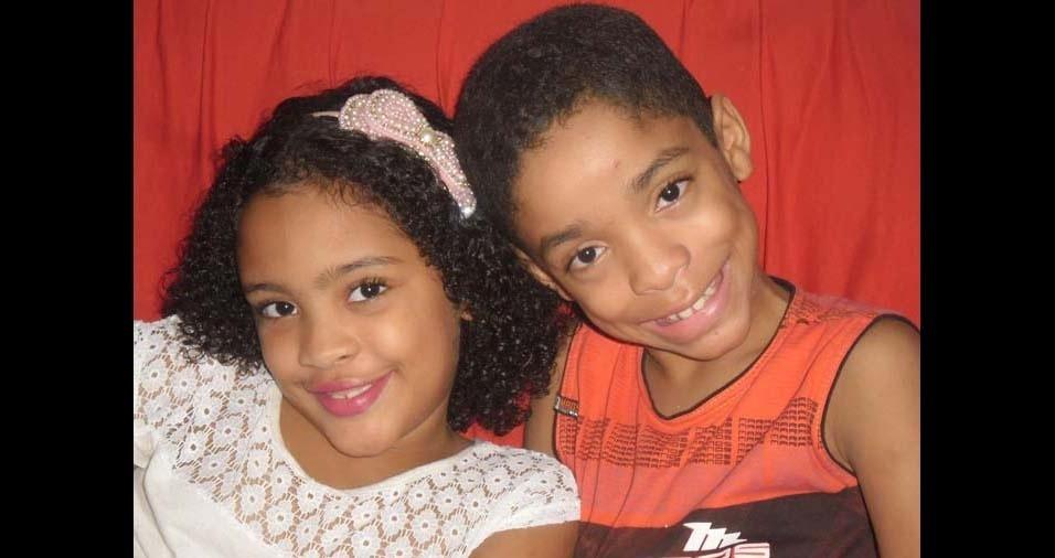 Cláudia, de Olinda (PE), enviou foto dos filhos Isabela, de sete anos, e Matheus, de nove anos