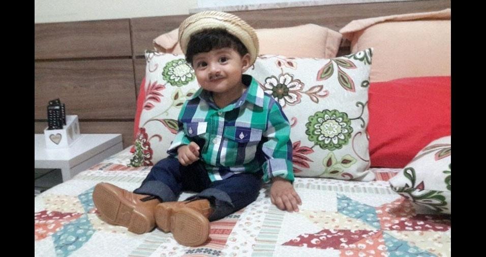Sônia Maria Tavares Ribeiro enviou foto de seu caipirinha Miguel, com um ano e sete meses. A família mora em Dias d'Ávila (BA)