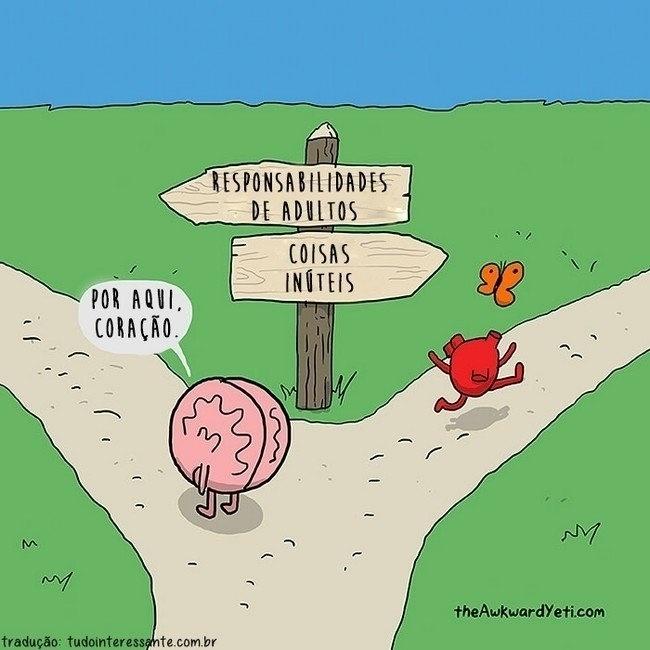7.out.2015 - Razão ou emoção? Usar o cérebro ou o coração? Todos os dias, precisamos escolher um dos dois lados para tomar algumas decisões, que podem ser simples ou complexas. Pensando nisso, o artista Nick Seluk, do The Awkward Yeti, criou uma série de desenhos divertidos que mostram como seriam cérebro e coração se falassem e interagissem. Veja mais ilustrações a seguir