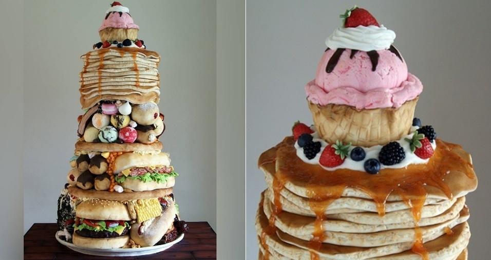 """30. O bolo mais famoso de Laura Loukaides, e compartilhado diversas vezes em redes sociais, é o maior e mais pesado já feito por ela. Ele reúne diversas outras """"comidas"""", incluindo feijão e milho. Um item essencial para quem está no """"dia do lixo"""" na dieta"""