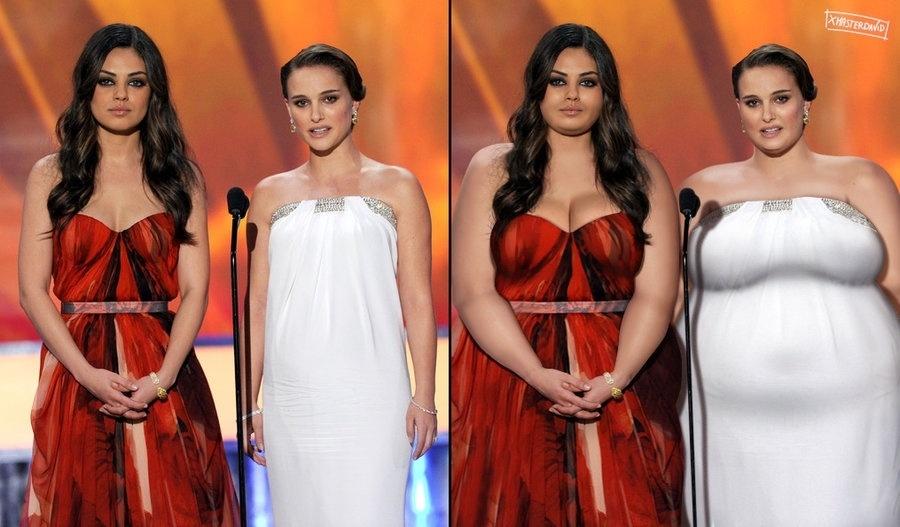 """11.dez.2015 - Magras, as atrizes Mila Kunis e Natalie Portman, que contracenaram no filme """"Cisne Negro"""", deixam a magreza para trás na série do espanhol David Lopera"""