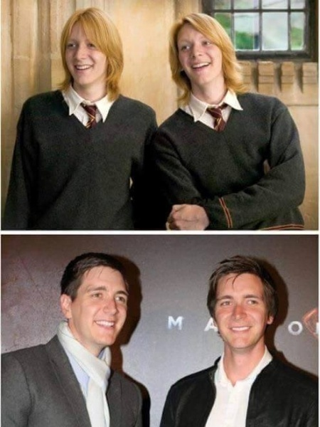 Os irmãos gêmeos Fred e Jorge Weasley foram interpretados por James e Oliver Phelps - Montagem