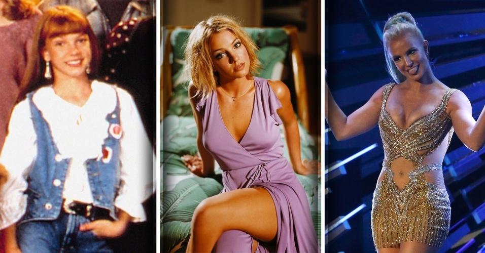 """2.dez.2016 - A cantora norte-americana Britney Spears nasceu em 2 de dezembro de 1981, precoce, começou a fazer aulas de dança aos três anos. Em 1992, entrou para o elenco do programa """"Clube do Mickey Mouse"""", nos Estados Unidos, ao lado de Christina Aguilera, Justin Timberlake e Ryan Gosling. O estrelato chegou de vez após o sucesso da música """"Baby One More Time"""", em janeiro de 1999. Britney foi casada duas vezes, em janeiro de 2004 com o amigo de infância Jason Alexander, anulado menos de três dias depois, e em setembro do mesmo ano com o dançarino Kevin Federline, com quem teve Sean Preston, em 2005, e Jayden James, em 2006. Veja a seguir outros momentos da vida e carreira da polêmica cantora"""